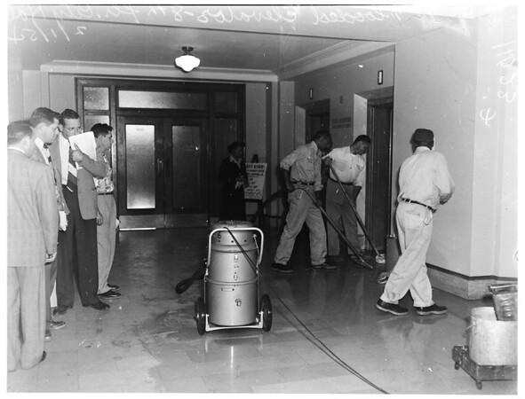 Flooded elevator shaft (8th floor, City Hall), 1954