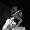 "Guarding ""Tommy Trojan"" before football game, 1959"