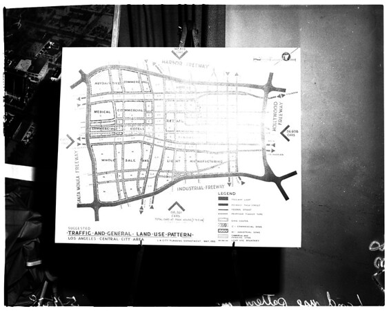 Map showing new wing of California Hospital, 1958