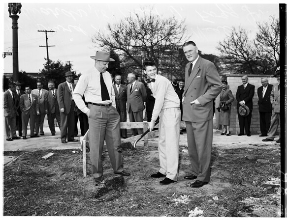 Ground breaking (New Freshmen Men's Dormitory at University of Southern California) West 36th Street and Hoover Boulevard, 1953