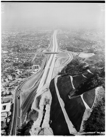 Aerial shots of San Diego Freeway from Wilshire Boulevard to Sunset Boulevard, West Los Angeles, 1957