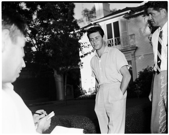 Eddie Fisher at home at 324 Conway Place in West Los Angeles, 1958