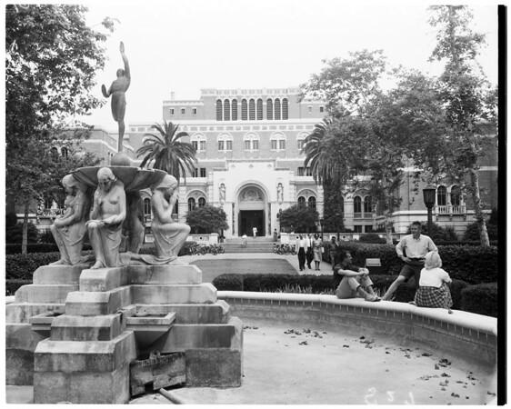 Shots of Doheny Library at University of Southern California, 1958