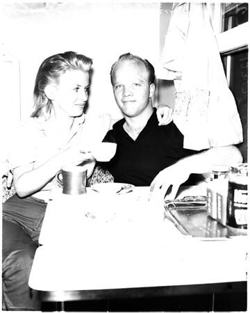 Dennis Crosby and bride Pat Sheehan, 1958