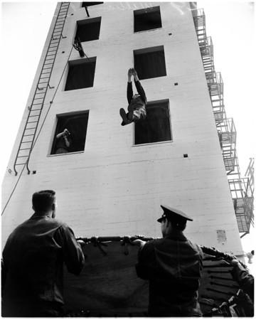 Rookie firemen demonstration, 1956