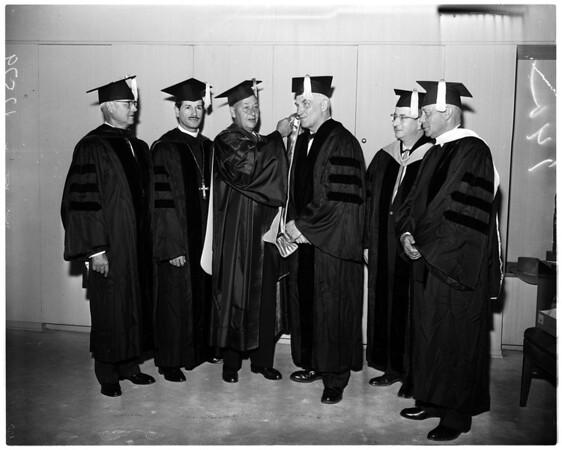 University of Southern California graduation (honorary degree winners) general views, 1959