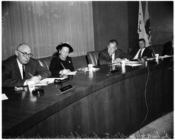 Coliseum Commission meeting on Dodgers, 1957