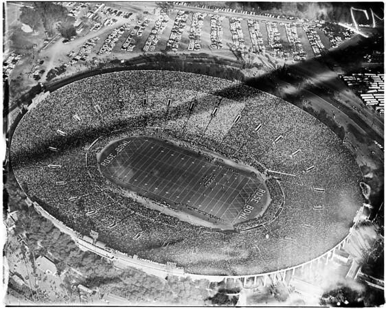 Sansone air photos of Rose Bowl taken from blimp, 1956