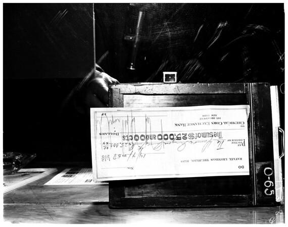 Check to Damon Runyon Cancer Fund, 1958