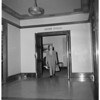Mayor Bowron leaves City Hall, 1953