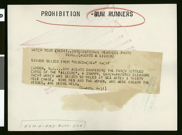 "Liquor seized from ""mixed-crew"" yacht, 1931"