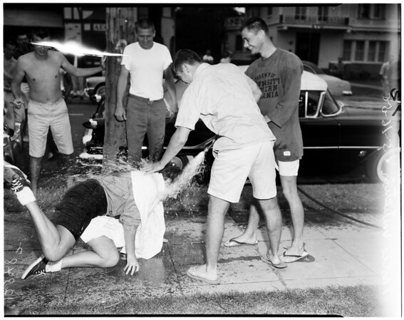 University of California Los Angeles trolls initiation at University of Southern California, 1958