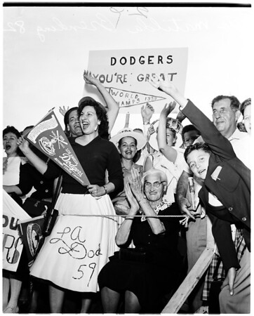 Dodgers arrival, International Airport, 1959