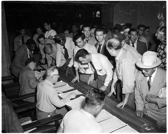 Los Angeles Transit Lines operators vote... Rodger Young Village, 1952