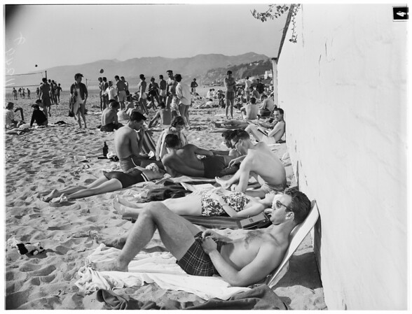 Beach crowds, 1955