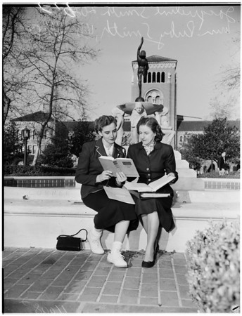 Mother and daughter at University of Southern California, 1954