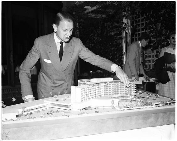 Model of Beverly Hilton Hotel, 1954