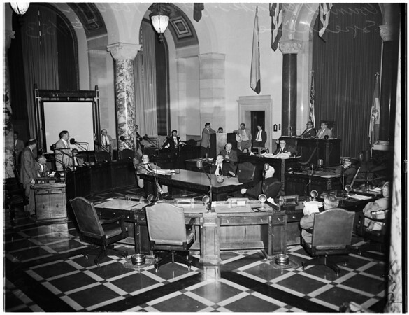 Council quorum (vacant seats in foreground), 1953