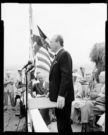 Opening and dedication of San Simeon California state park, 1958