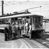 Old Number 525 Streetcar tours city with members of Electric Railroaders Association, 1955