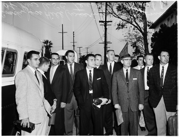 Trojan team on way to Ambassador and overnight quarters, 1955