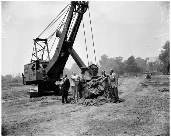 Breaking ground for new sports arena at Exposition Park, 1956