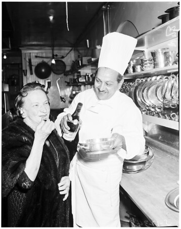 Food feature... La Rue's restaurant, 1958