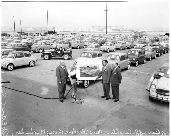 Los Angeles Harbor car import handling dock, 1958
