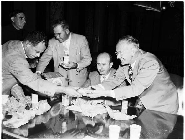 City councilmen gather, 1953