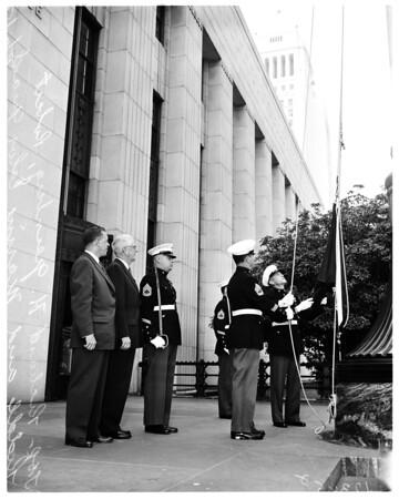 Flag presentation federal building, 1958