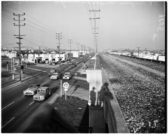 Los Angeles City streets (Pacific Electric overpass at Venice Boulevardand La Cienega Boulevard), 1953