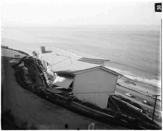 Palisades home endangered (landslide), 1958