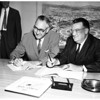 Signing of contract and model of Chavez Ravine, 1960