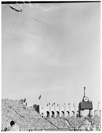 Goodyear Blimp Enterprise flying over Los Angeles Memorial Coliseum, 1955