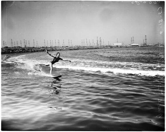 Water skiing -- Los Angeles Lake, 1958
