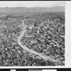 Aerial view of Harbor Freeway, 1954