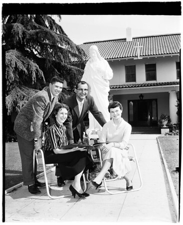 Bride and groom retreat, 1958
