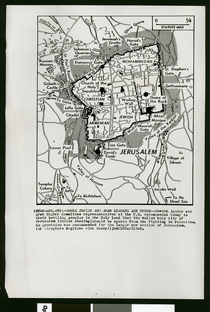 Map of Jerusalem where Jewish and Arab leaders ask truce, 1948