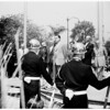 Nixon flag raising at Beverly Hilton Hotel, 1955