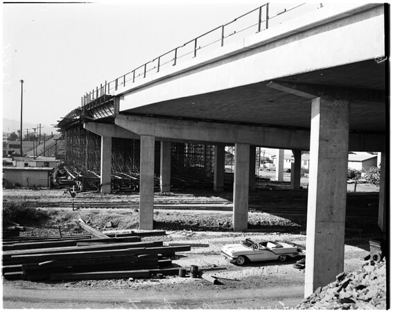 San Diego Freeway construction, 1958