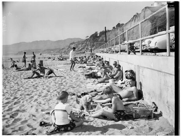 Beach crowds, 1955