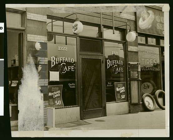 A Main Street speakeasy: the Buffalo Cafe where driks were purchased, 1929