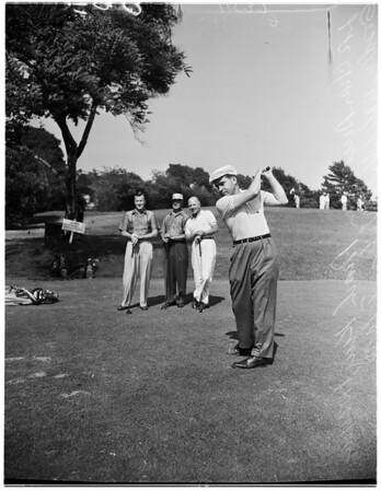 Nixon playing golf, 1955