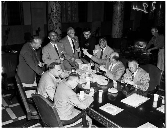 City councilmen gather, 1953