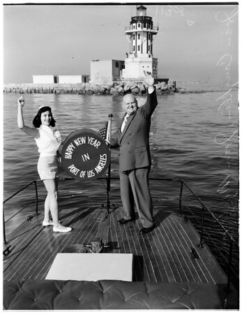 """""""Happy Holidays"""" signal hung on the Los Angeles Harbor Lighthouse welcoming ships to Los Angeles Harbor, 1954"""