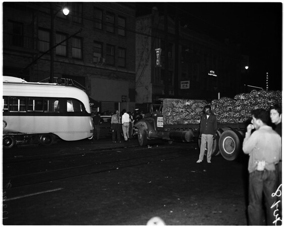 Street car vesus truck accident at 7th Street and Market Court, 1958