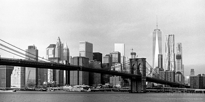 Lower Manhattan view with Brooklyn Bridge