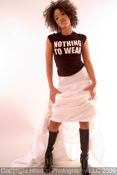 """NOTHING TO WEAR"" T-shirt courtesy of Cellar Couture, Washington D.C. Skirt by Calvin Klien."