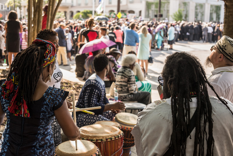 WoSe of Charleston, drumming group, create a drum circle in Marion Square for the funeral of Rev. Clementa Pinckney held at the College of Charleston TD arena on Friday, June 26, 2015.