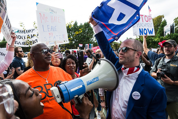 President Donald Trump's visit to a criminal justice forum at Benedict College in Columbia on Oct. 25, 2019, was met with protests. John A. Carlos II / Special to The Post and Courier